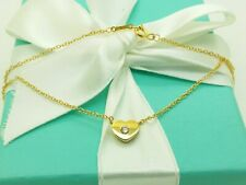 Tiffany & Co Paloma Picasso 18K Yellow Gold Heart & Diamond Pendant 16' Necklace