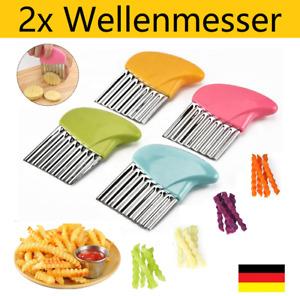 2x Edelstahl Wellenmesser Pommes Kartoffel Gemüse Obst Messer Buntschneidemesser