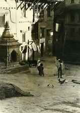 Nepal Kathmandu Scene from Everyday Life Children Chicken Old photo 1960