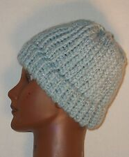 Handmade One Size Womens Ice Blue Knitted Beanie 80% Acrylic 20% Wool Blend
