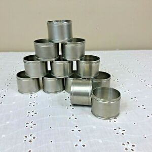 """Lot of 12 Pewter Napkin Ring Holders 1 1/4"""" by 1 3/4"""""""