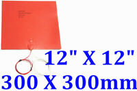 "12"" X 12"" 300 X 300mm 24V 500W Thermistor 3D Printer Heated Bed Silicone Heater"