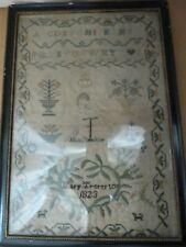 More details for antique victorian 1823 framed glazed embroidered sampler mary treverton