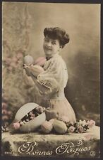 Bonnes Paques. Easter Eggs. Happy Easter in France. Early French Easter Postcard