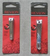 2 Revlon Nail Clip + Toenail Clip With File - Curved Blades Safe Trim & Shaping