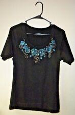 Port Authority Ladies Black Embellished Scoop Neck Tee. LM1003 Size Medium