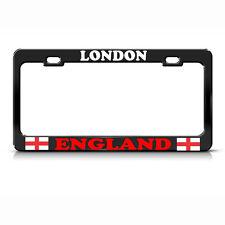 LONDON CITY ENGLAND FLAG Heavy Duty Black License Plate Frame
