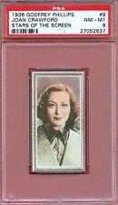1936 Stars of the Screen Card #9 JOAN CRAWFORD Elegance SAN ANTONIO Texas PSA 8