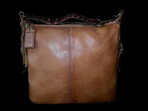COACH Bleecker Felicia Burnished Leather XL Slim Duffle Hobo Bag Purse Satchel