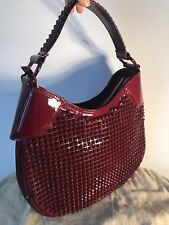 e333422860f3 New Burberry Elly Ox Blood Bordo Red Patent Leather Studded Handbag