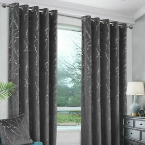 EMILY INTERLINED AND BLACKOUT EYELET RINGTOP CURTAINS - FLORAL - SOFT/WARM