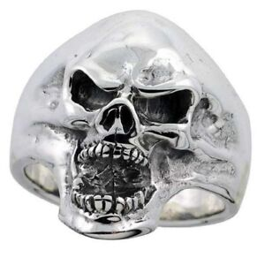 Sterling Silver Furious Skull Biker Ring