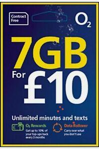 O2 Sim Card Pay As You Go £10 Bundle 3 in1 Micro Nano PAYG 7GB DATA 02