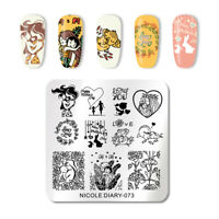 NICOLE DIARY Square Nail Art Stamp Plates Mother's Day Rose Nagel Schablone 073