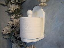 White vertical wood toilet paper holder with shelf. JLJ Original Design