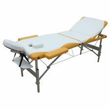 Massageliege 3 Zonen Massagebank Massagetisch Kosmetikliege weiß gelb Tasche