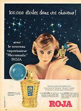 PUBLICITE ADVERTISING 045  1958  ROJA-FLORE Vaporisateur  MICROMATIC BOUQUET FLE