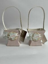 New W/ Tag! Lot of 2 Bethany Lowe Dee Foust - Pink Baby Basket - Df7632