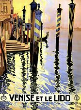 Venise et le Lido Venice Italy Italian Europe Travel Advertisement Poster