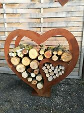 Edelrost  holzsammler  rost brennholzsammler Regal Herz 3 varianten!!!