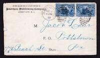 SCOTT #230 COLUMBUS PAIR ON ADVERTISING COVER ⭐ JERSEY CITY CDS ⭐ BACKSTAMP 1893