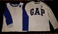 New nwt toddler boys Gap 5t long sleeve logo button shirt top small lot white