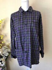 Burberry Mens Pajama Shirt Purple And Black Flannel Plaid Size M