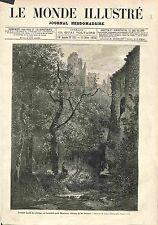 Fossés Château de Lavardin par Charles Busson FRANCE GRAVURE ANTIQUE PRINT 1875