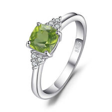 JewelryPalace 1.22ct Cushion-Cut Genuine Peridot Ring 925 Sterling Silver