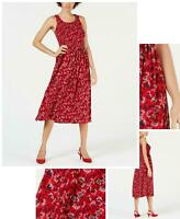 Maison Jules Womens Floral Fit and Flare Dress. 100055038 Red L
