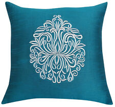 Teal Blue Square Floral Embroidered Poly Dupion Sofa Cushion Cover Throw