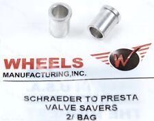 (2) Two Wheels Mfg Presta Valve Saver 11mm Schrader Bike Rim Hole Alloy Adapters