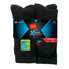 Mens Hanes Active Cool Crew Socks Fresh IQ Size 6 - 12 Shoe Black 12 Pack