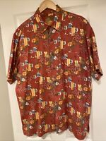 Caribbean mens Hawaiian SS shirt size L silk blend Guitar Cocktail Print