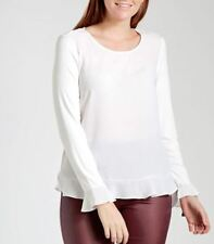NEW!  Katies Flutter Trim Soft White Long Sleeve Blouse Top - Size M - RRP$39.95