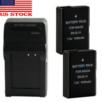 EN-EL14 Battery w/Charger For Nikon D3100 D3200 D3300 D5100 D5200 P7000 P7100 DF