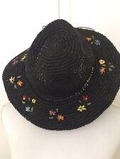 d0a60cefe2d Capelli Straworld Straw Hat Black Raffia Weave Flowers