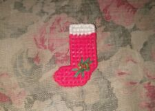 Vintage Christmas Holiday Stocking Hand Crafted Needlepoint Pin