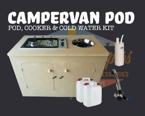 MDF Campervan Kitchen Pod Unit with Stainless Steel Sink Cooker and Water Kit