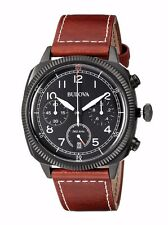 Bulova Men's 98B245 Military Chronograph Quartz Brown Leather Strap Watch