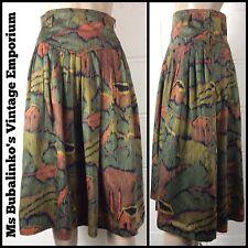 VINTAGE 80 S Betty Barclay colori tenui colori Astratto modello Midi Gonna Taglia 6