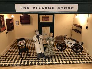 Vintage Hand Made Dolls Shop 1:12 - The Village Store - plus bike, figures