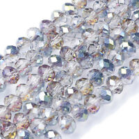 """10 Strand Mix Spray Painted Transparent Glass Bead Oval 31/"""" Jewelry Loose Spacer"""