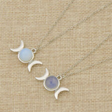 Opal Triple Moon Necklace Pendant Random Jewellery Silver Chain Fashion Women