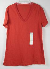 Eddie Bauer T Shirt Lace V Neck Orange M Medium Womens NWT New