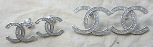 """925 Sterling Silver White Cubic Zirconia """"X"""" Stud Earrings - 2 sizes Small & Big"""
