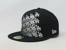 New Era 59Fifty Hat Mens MLB Los Angeles Dodgers Black Gray Vaporate Fitted Cap