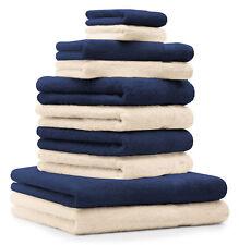 Set di 10 asciugamani Classic-Premium, colore: blu scuro e beige