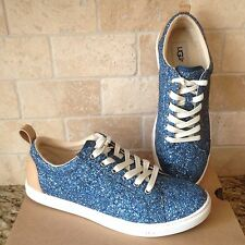 bf827b476f27 UGG KARINE BLUE CHUNKY GLITTER LEATHER SNEAKERS SHOES TENNIS SIZE US 6.5  WOMENS