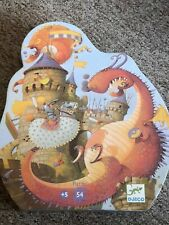 Djeco 54pc Puzzle Vaillant & The Dragon in Shaped Storage Box
